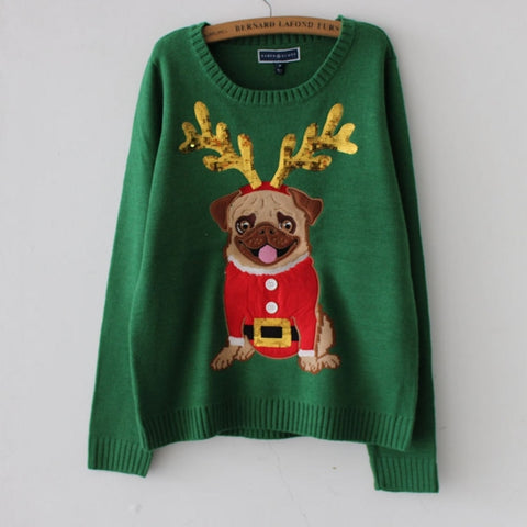 Pug Reindeer Christmas Sweater