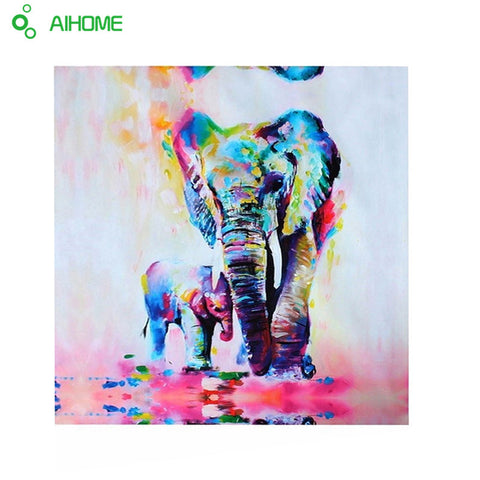 Elephant With Baby Canvas Wall Art Unframed