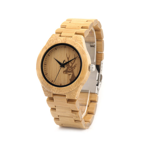 Women's Bamboo Deer Design Watch