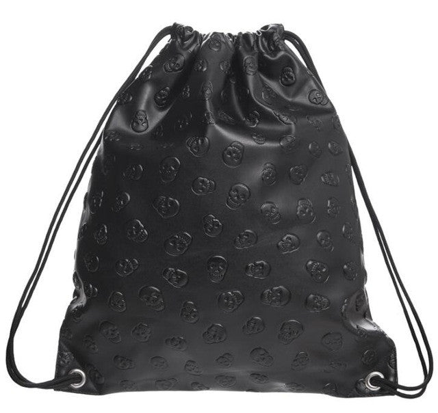 Black Skull PU Leather drawstring Bag