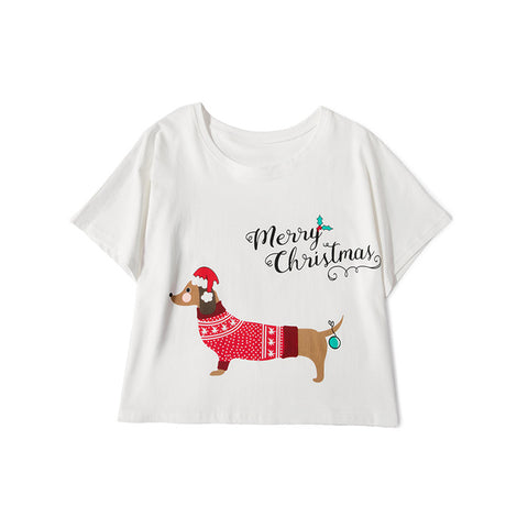 Christmas Dachshund Crop Top