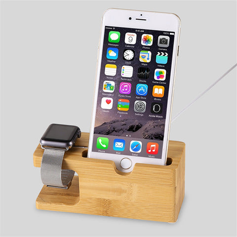 100% Natural Bamboo Charging Dock Station For Apple Watch & iPhone