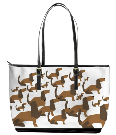 Cartoon Dachshund Leather Tote Bag