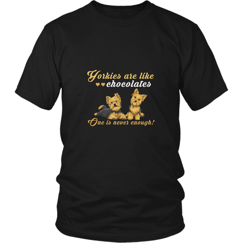 Yorkies are like Chocolates Black T-Shirt/Tank for Women