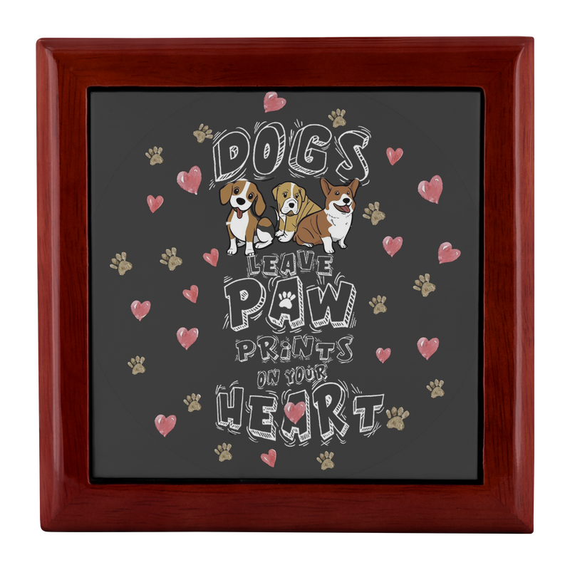 Dogs Leave Paw Prints Jewelry Box