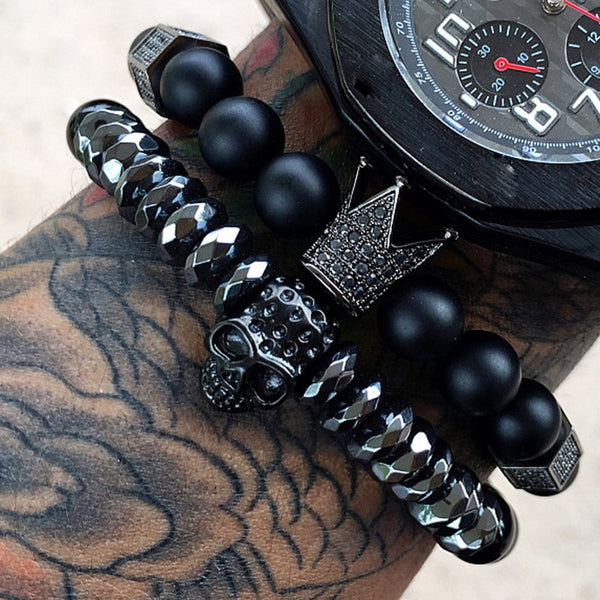 Skull and Crown Kings Bracelet Set