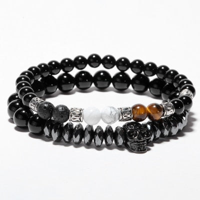 Natural Stone and Skull Luxury 2 Piece Bracelet Set
