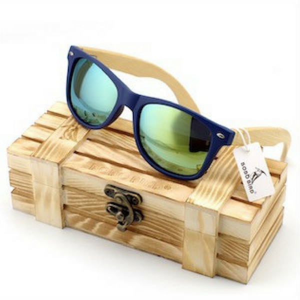 Men's Bamboo Wood Sunglasses in Vintage Style Polarized