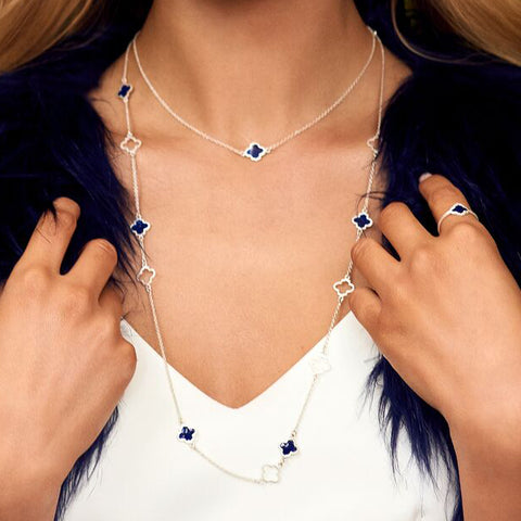 Mala Necklace Silver Navy