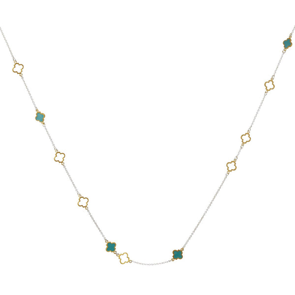 Mala Necklace Silver Gold Turquoise