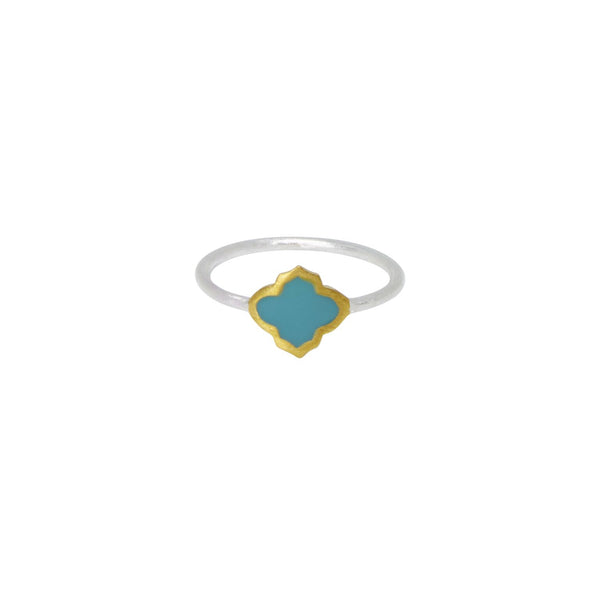Trellis Ring Silver Gold Turquoise