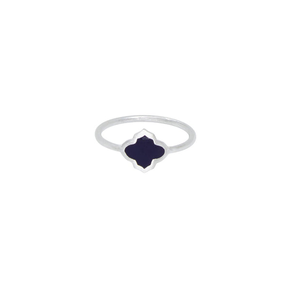 Trellis Ring Silver Navy