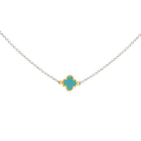Trellis Necklace Silver Gold Turquoise