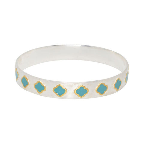 Jaali Bangle Silver Gold Turquoise