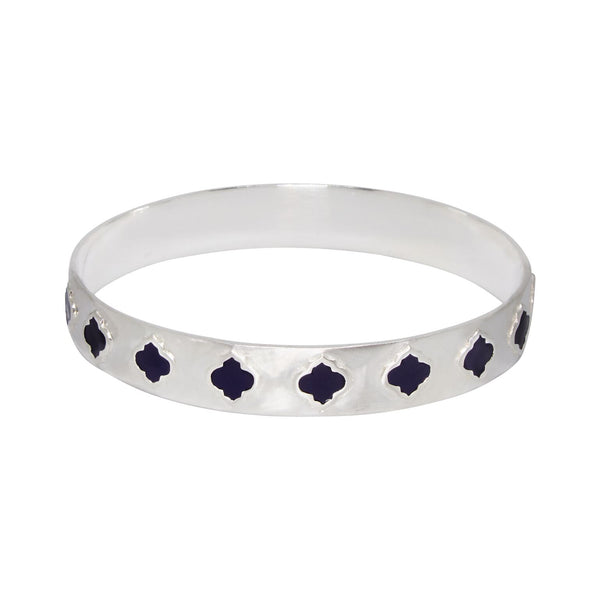 Jaali Bangle Silver Navy