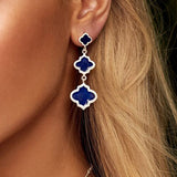 Jaali Earrings Silver Navy