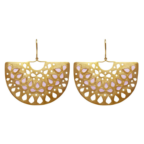 Jaali Basket Earring Gold Blush
