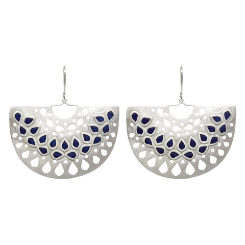 Jaali Basket Earring Navy