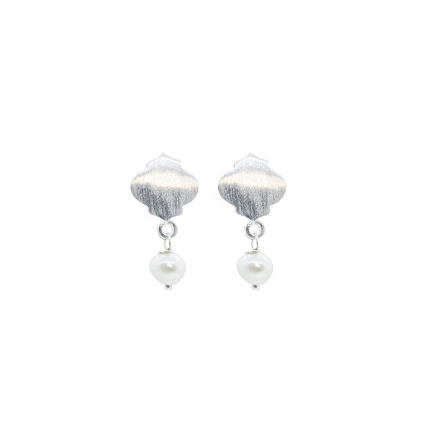 Mosaic Pearl Earrings Silver