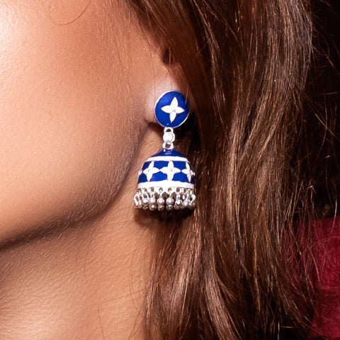 Jhumka Earrings Navy