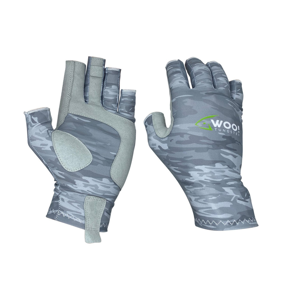 WOO! Tungsten UV Performance Fishing Gloves (Gray/White) - WOO! TUNGSTEN
