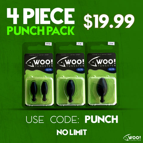 "PUNCH PACK - Every Punch Weight Between 1/2 oz and 1.5 oz (Black) - USE CODE ""PUNCH"" - WOO! TUNGSTEN"