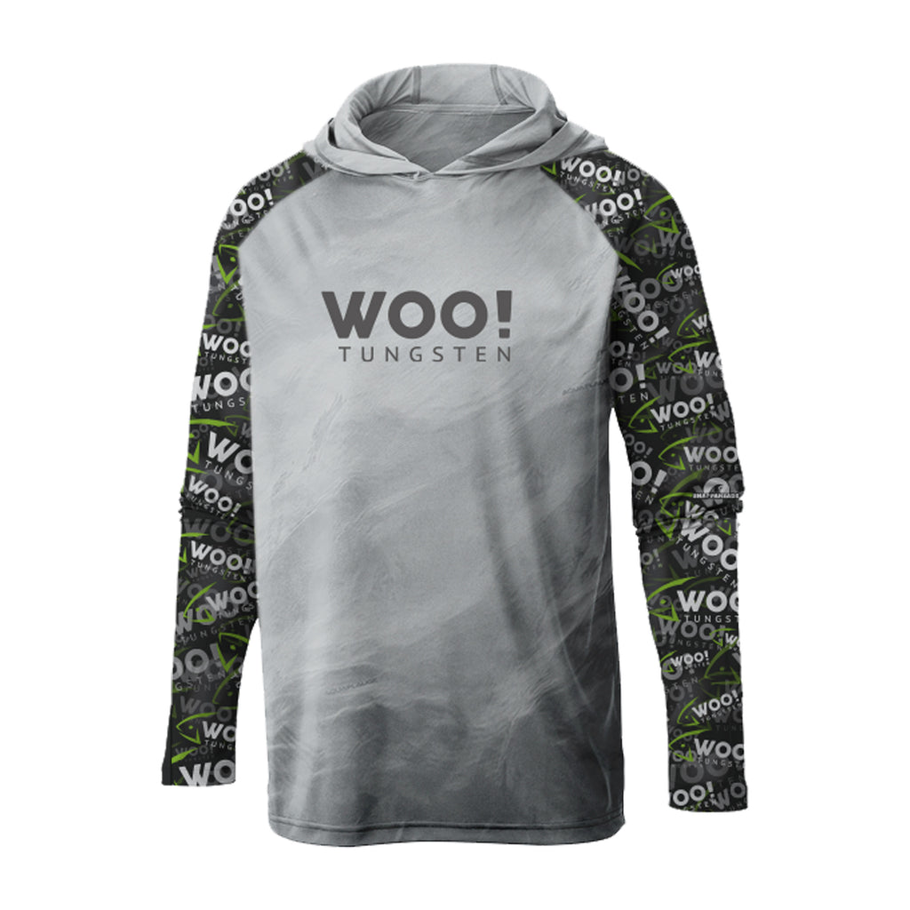 Hooded WOO! Tungsten UV Performance Shirt (Gray/Green/Black) - WOO! TUNGSTEN