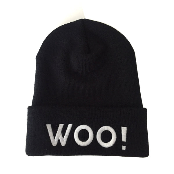 Big WOO! Cuffed Knit Beanie - BLACK - WOO! TUNGSTEN