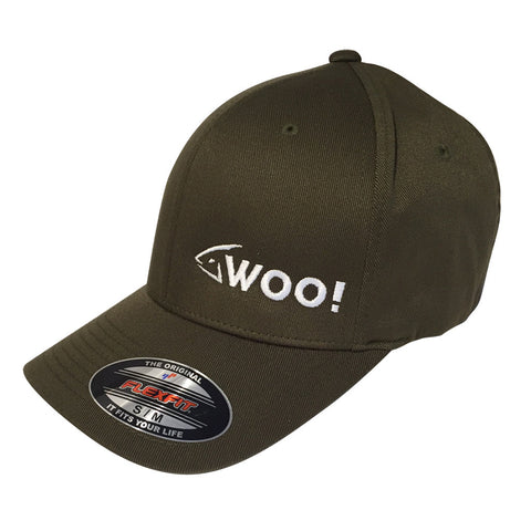 WOO! Logo Flexfit Curved Bill Hat (Olive Green) - WOO! TUNGSTEN