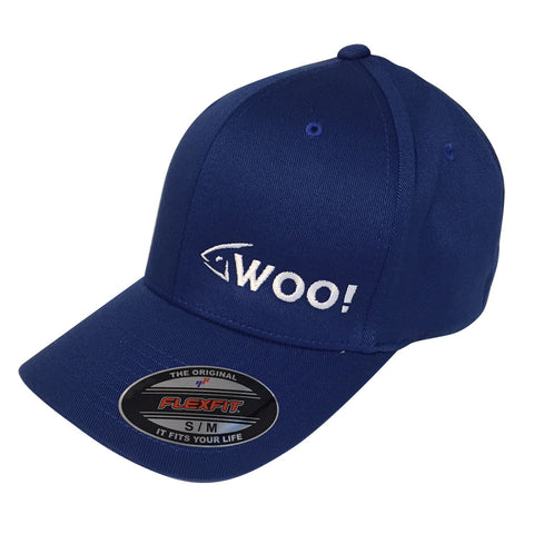 WOO! Logo Flexfit Curved Bill Hat (Royal Blue) - WOO! TUNGSTEN