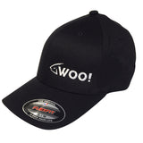 WOO! Logo Flexfit Curved Bill Hat (Black) - WOO! TUNGSTEN