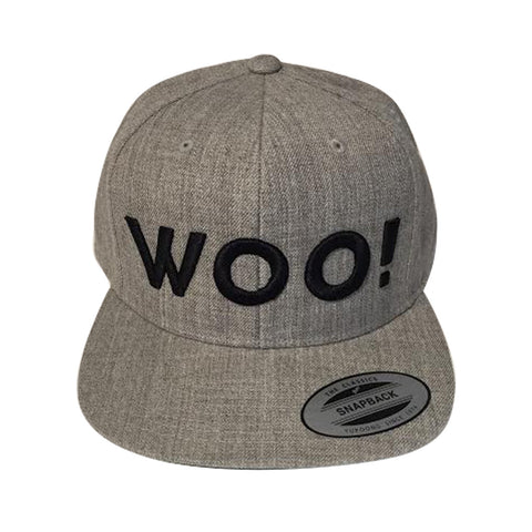 Big WOO! Wool Blend Snapback Hat (Heather Gray) - WOO! TUNGSTEN