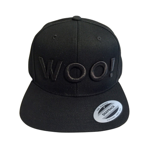 Big WOO! Wool Blend Snapback Hat (Black on Black) - WOO! TUNGSTEN
