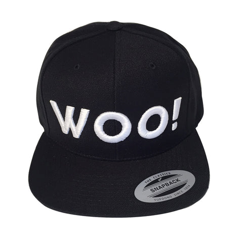 Big WOO! Wool Blend Snapback Hat (Black) - WOO! TUNGSTEN
