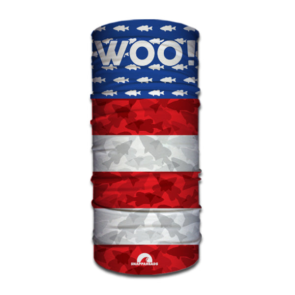 UNITED STATES OF WOO! Face Buff  (Bass Camo Red, White & Blue) - WOO! TUNGSTEN