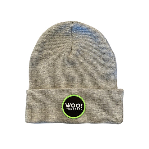 WOO! Circle Logo Knit Beanie with Patch (Gray) - WOO! TUNGSTEN