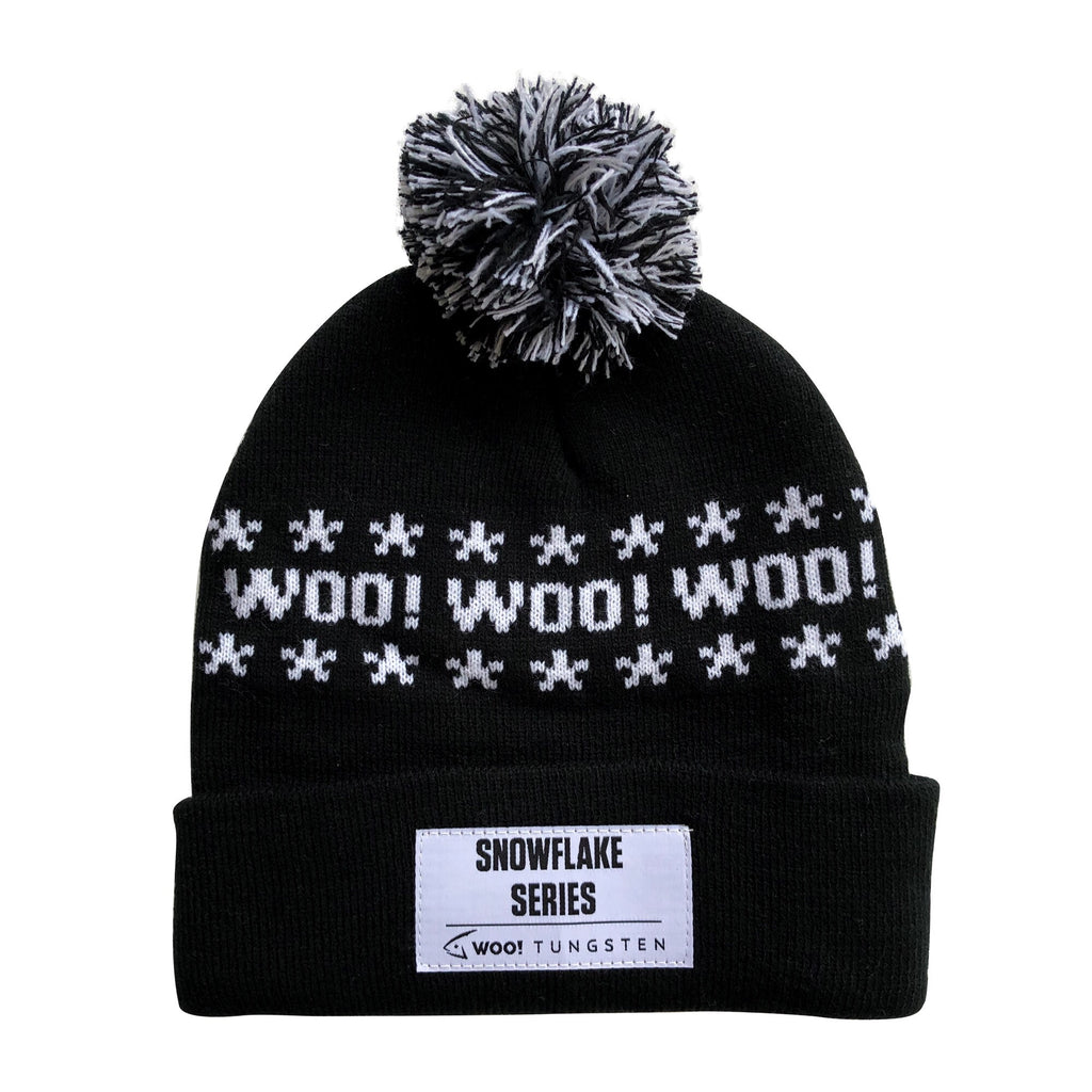 WOO! Pom Pom Knit Beanie - BLACK AND WHITE - WOO! TUNGSTEN