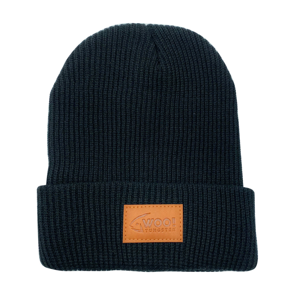 WOO! Leather Patch Cuffed Knit Beanie - BLACK - WOO! TUNGSTEN