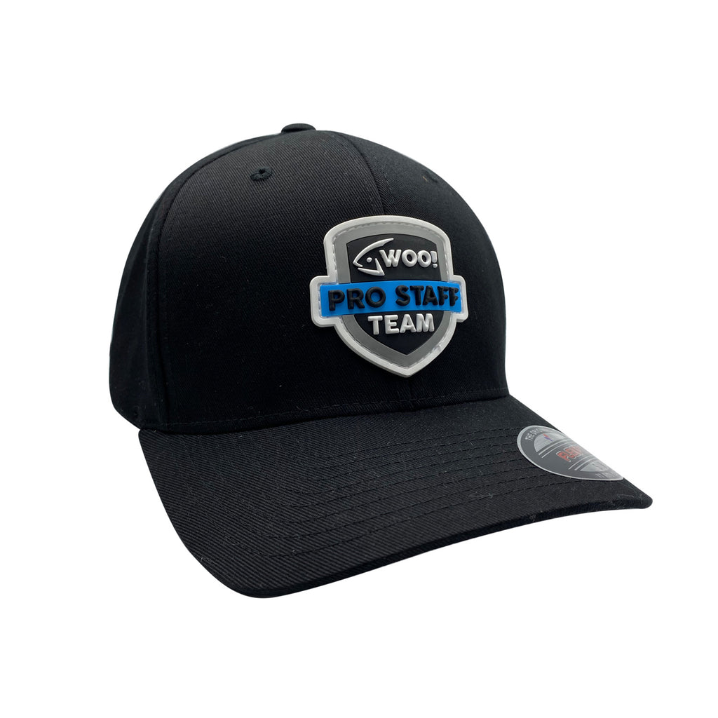 WOO! Tungsten Pro Staff Team Raised Logo Flexfit Hat (Black) - WOO! TUNGSTEN