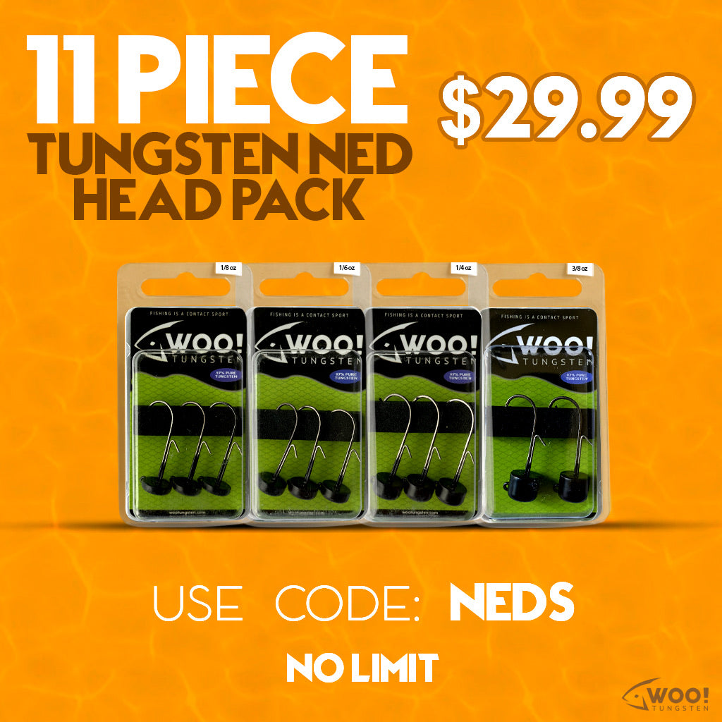 "NED PACK - Every Ned Head Size Between 1/8 oz and 3/8 oz - USE CODE ""NEDS"" - WOO! TUNGSTEN"