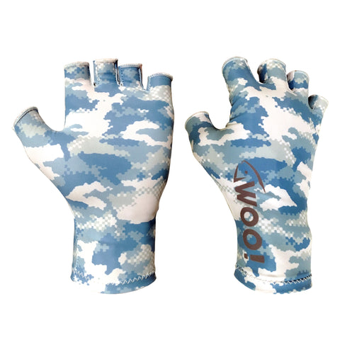 WOO! Tungsten UV Performance Fishing Gloves (Digital Camo Blue) - WOO! TUNGSTEN