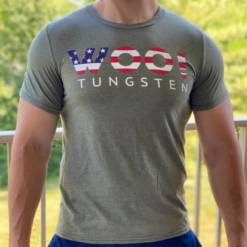 Super Soft WOO! Tungsten USA Logo T-Shirt (Military Green) - WOO! TUNGSTEN