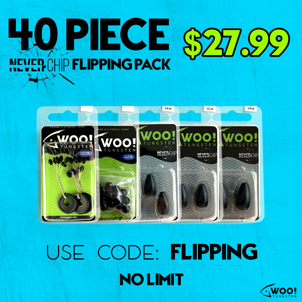 "FLIPPING PACK - 40 Piece - Between 3/8 oz and 3/4 oz - USE CODE ""FLIPPING"" - WOO! TUNGSTEN"