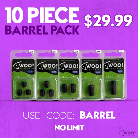"BARREL PACK - Every Barrel Weight Size Between 1/4 oz and 1 oz - USE CODE ""BARREL"" - WOO! TUNGSTEN"