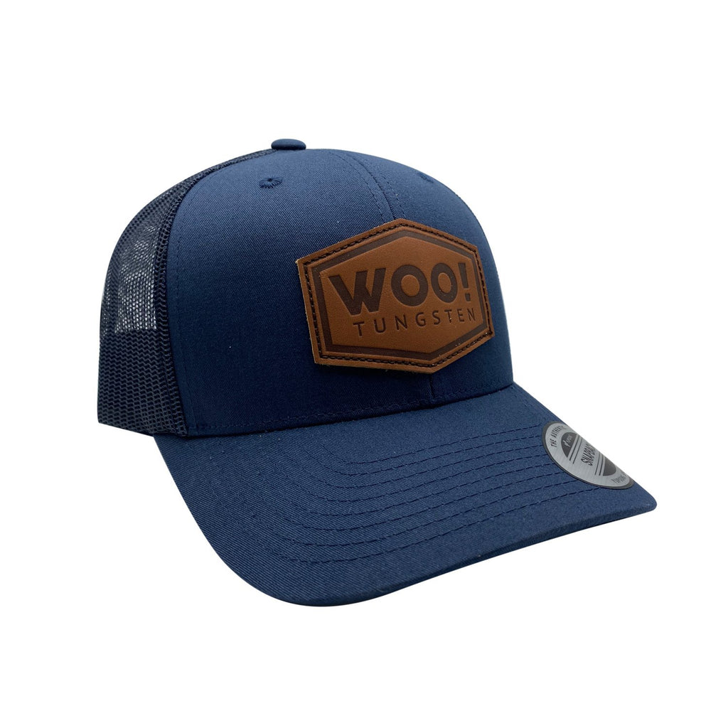 WOO! Tungsten Leather Patch Hat (Navy) - WOO! TUNGSTEN