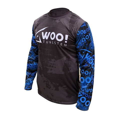 2019 TEAM WOO! Pro Staff Jersey UV Performance Shirt (Black, White & Midnight Blue) - WOO! TUNGSTEN