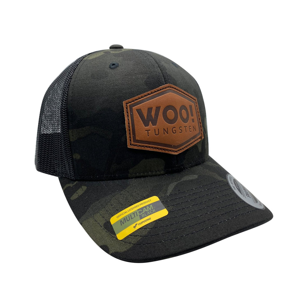 WOO! Tungsten Leather Patch Hat (Dark Camo) - WOO! TUNGSTEN