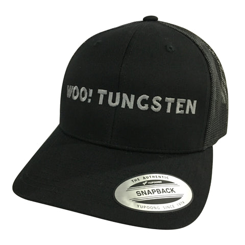 WOO! TUNGSTEN Gray on Black Trucker Hat (Black) - WOO! TUNGSTEN