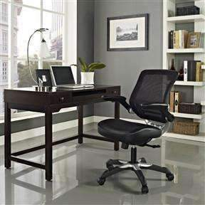 Modern Black Mesh Back Ergonomic Office Chair with Flip-up Arms - Stretch Desks - Height Adjustable Standing Desk