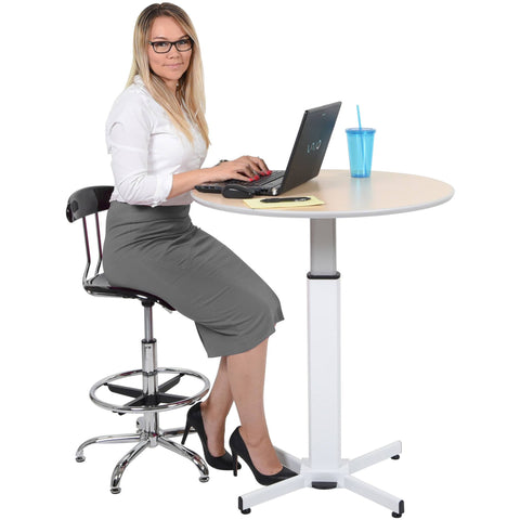 Luxor Adjustable Hydrolic Round Pedestal Table - Stretch Desks - Height Adjustable Standing Desk